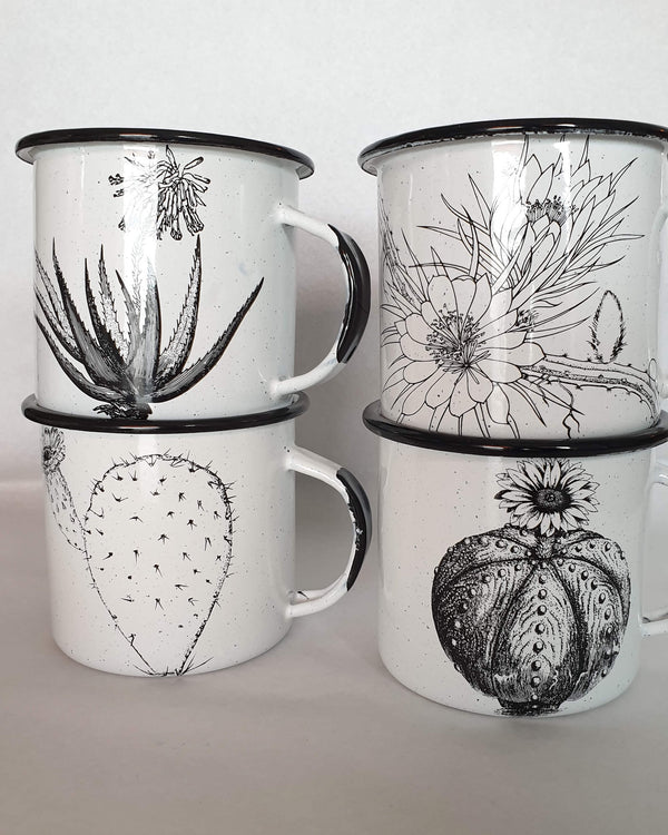Enamel Coffee Cup with Desert Flowers Black & White
