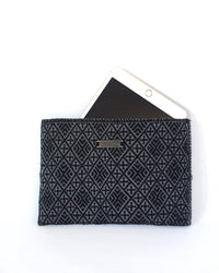 Folklor iPad Textil Case Black & Grey with embroidered brocades view with ipad inside