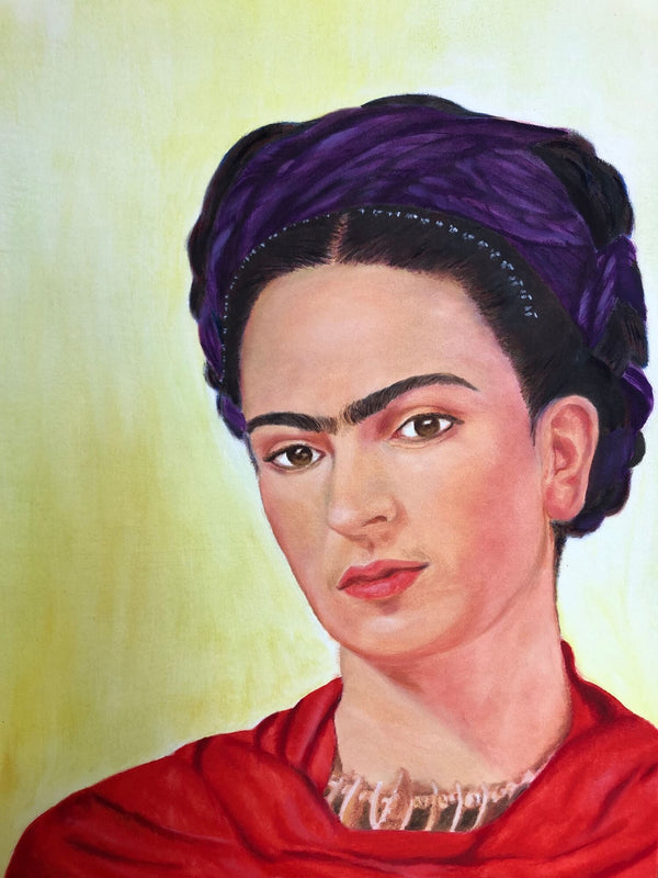 Frida Kahlo self portrait painting in oil