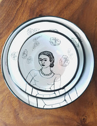 Frida Enamel PLate & Bowl Set top view