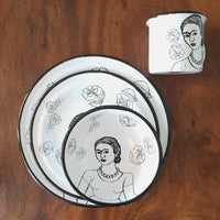 Frida Enamel PLate & Bowl Set including cup