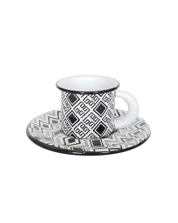 Enamel espresso cup and plate geometric black & white