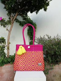 I-XU Unique Tote Bag pink & yellow outdoor