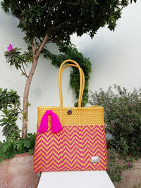 Tote Beach Bag Yellow & Pink - Handwoven Recycled Plastic - I-XU Unique