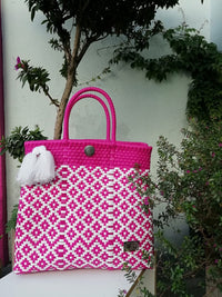 Tote Beach Bag Pink & White - Handwoven Recycled Plastic - I-XU Unique