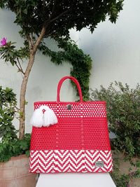 I-XU Unique Tote Bag red with white outdoor