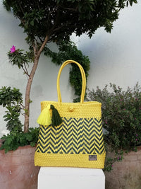 Tote Beach Yellow & Navy Blue - Handwoven Recycled Plastic - I-XU Unique