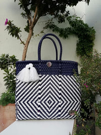 Tote Beach Bag Blue & White - Handwoven Recycled Plastic - I-XU Unique