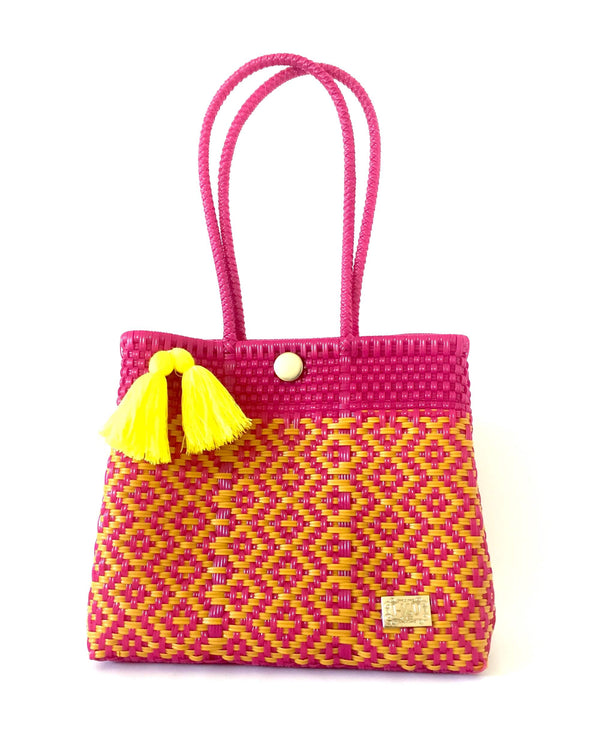 I-XU Unique Tote Bag pink & yellow front view