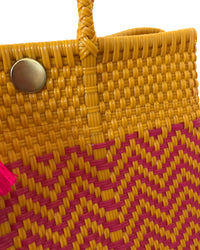 I-XU Unique Tote Bag yellow & pink detail view