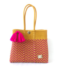 I-XU Unique Tote Bag yellow & pink front view