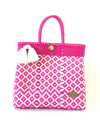 I-XU Unique Tote Bag pink with white front view