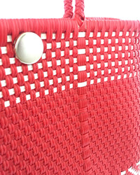 I-XU Unique Tote Bag red with white detail view