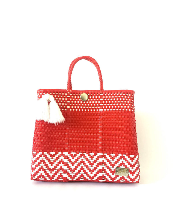 I-XU Unique Tote Bag red with white front view