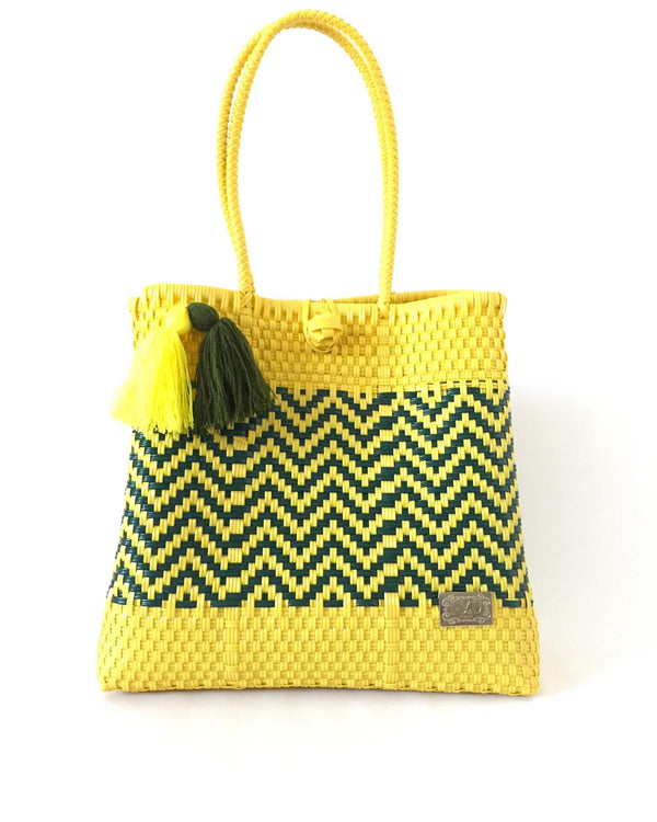 I-XU Unique Tote Bag yellow with dark green front view
