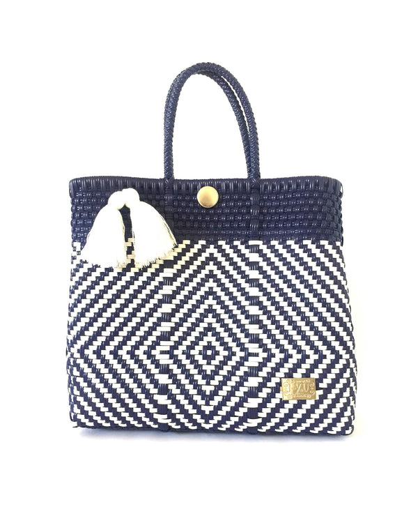 I-XU Unique Tote Bag dark blue with white front view