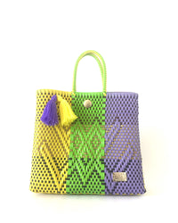I-XU Unique Tote Bag yellow, green & purple front view