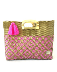 I-XU Unique Wood Handle Bag pink with gold front view