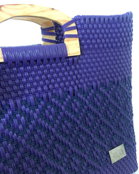 I-XU Unique Wood Handle Bag purple with dark blue detail view