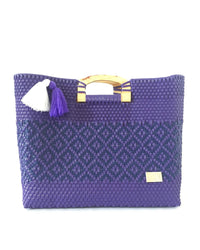 I-XU Unique Wood Handle Bag purple with dark blue front view
