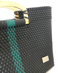 I-XU Unique Wood Handle Bag black with dark green detail view