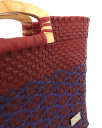 I-XU Unique Wood Handle Bag red with purple detail view