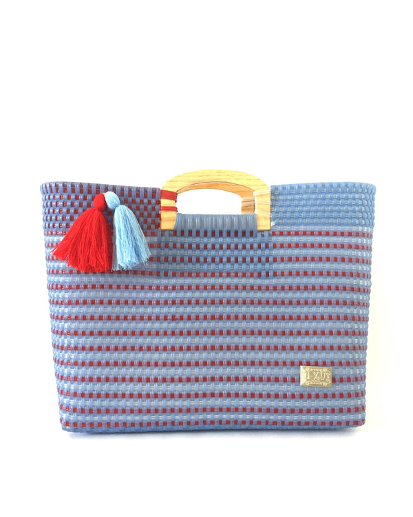 I-XU Wood Handle Tote bag in light blue with red details front view