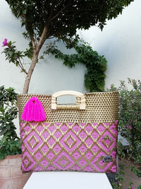 I-XU Unique Wood Handle Bag pink with gold outdoor