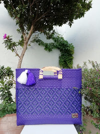 I-XU Unique Wood Handle Bag purple with dark blue outdoor