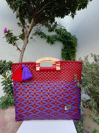 I-XU Unique Wood Handle Bag red with purple outdoor
