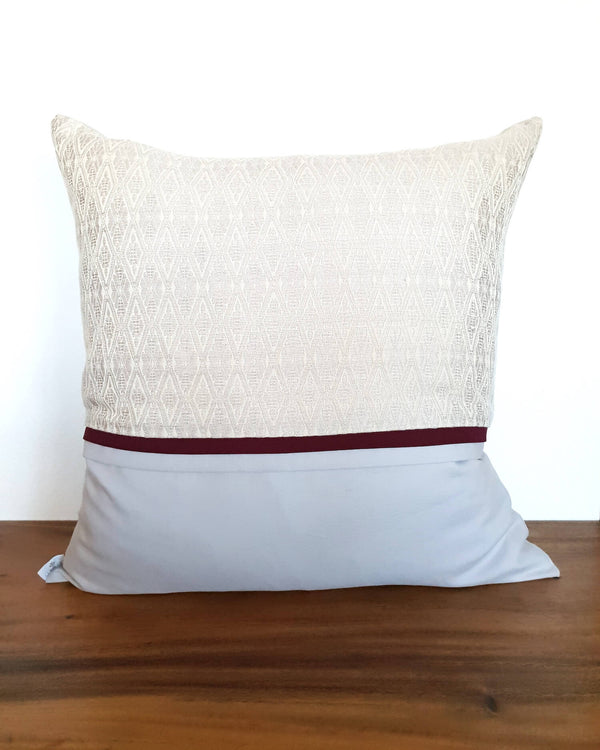 Ivory Cotton Throw Pillow Coramodi - Ivory Decortive Pillow with Texture - Handwoven Modern Mexican Sofa Decor