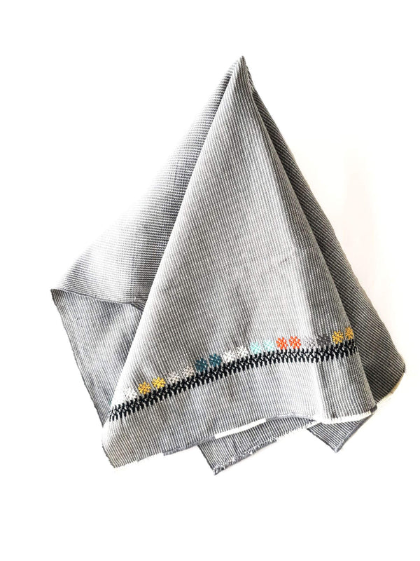Cotton Kitchen Towel Dark Grey Marco Handwoven with Decorative Accents