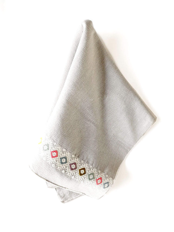 Cotton Kitchen Towel Lupita Grey Handwoven with Decorative Accents