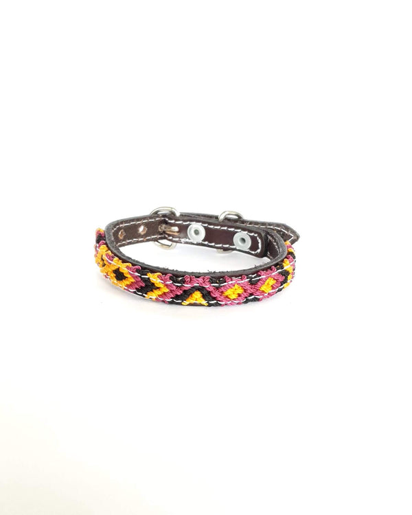 Extra-Small Leather Dog Collar with Handwoven Burgundy, Yellow & Black Pattern