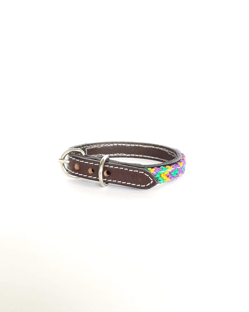 products/Leather-dog-collar-extra-small-lilac-yellow-green2.jpg