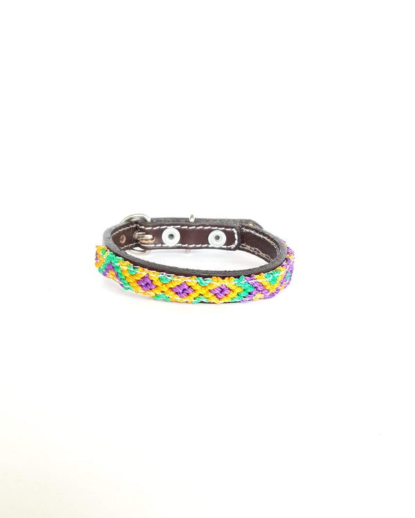 Extra-Small Leather Dog Collar with Handwoven Lilac, Yellow & Green Pattern