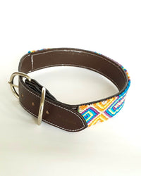 Large Leather Dog Collar with Handwoven Blue, Orange & Purple Pattern buckle