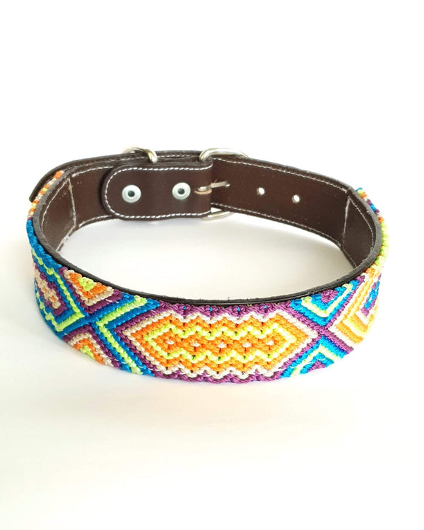 Large Leather Dog Collar with Handwoven Blue, Orange & Purple Pattern front