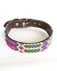 Large Leather Dog Collar with Handwoven Blue, Pink & Yellow Pattern front