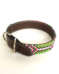 Large Leather Dog Collar with Handwoven Green, Gold & Red Pattern buckle