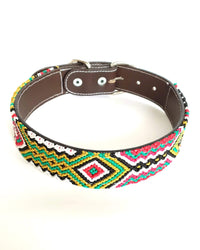 Large Leather Dog Collar with Handwoven Green, Gold & Red Pattern