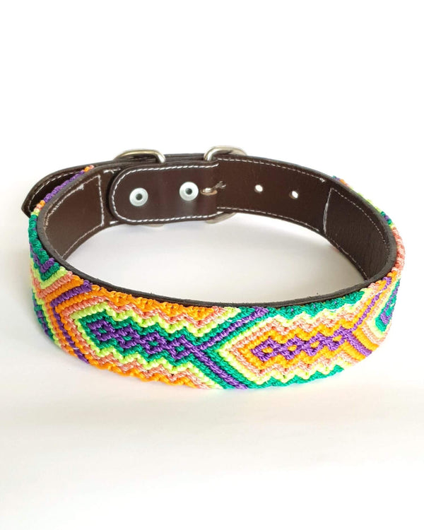Large Leather Dog Collar with Handwoven Green, Orange & Purple Pattern