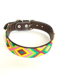 Large Leather Dog Collar with Handwoven Green, Yellow & Pink Pattern