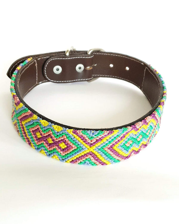 Large Leather Dog Collar with Handwoven Green, Yellow & Purple Pattern