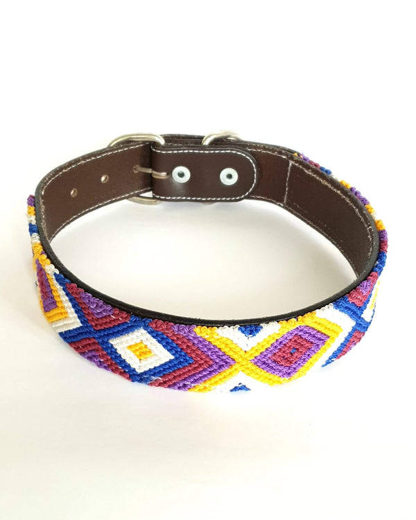 Large Leather Dog Collar with Handwoven Purple, Blue & Yellow Pattern