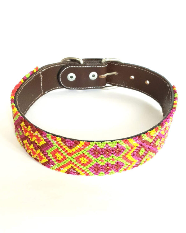 Large Leather Dog Collar with Handwoven Yellow, Orange & Green Pattern