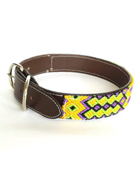 Large Leather Dog Collar with Handwoven Yellow, Orange & Purple Pattern buckle