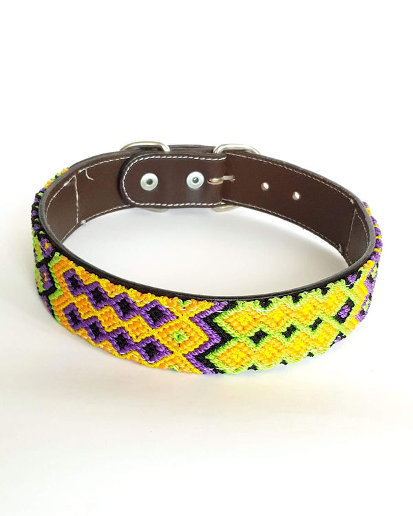 Large Leather Dog Collar with Handwoven Yellow, Orange & Purple Pattern