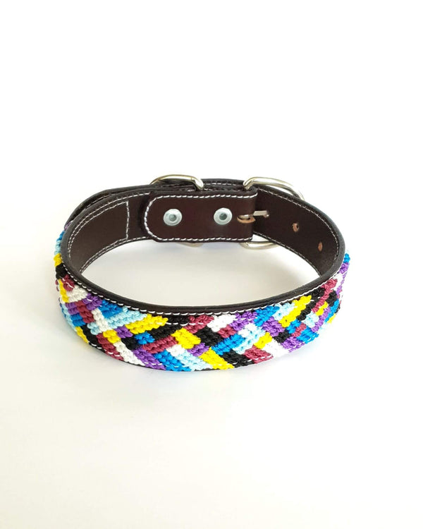 Medium Leather Dog Collar with Handwoven Blue, Purple & Yellow Pattern