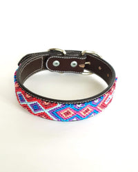 Medium Leather Dog Collar with Handwoven Blue, Red & Sky Blue Pattern